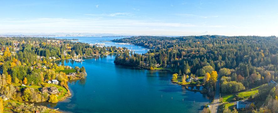 Bainbridge Island Panoramic Aerial Birds Eye View Winslow Seattle Mount Rainier Eagle Harbor