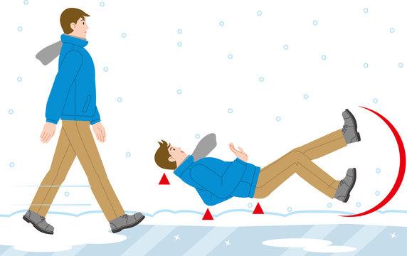 圧雪・凍結道路で 転倒