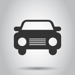 Car icon in flat style. Automobile car vector illustration on white background. Auto business concept.