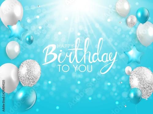 Glossy Happy Birthday Balloons Background Vector Illustration