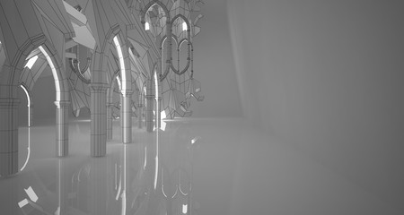 Abstract drawing white gothic interior multilevel public space with window. 3D illustration and rendering.