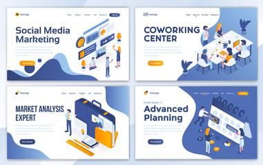 Flat Modern design of website template - Business and Marketing set