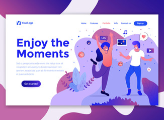 Flat Modern design of wesite template - Enjoy the moments