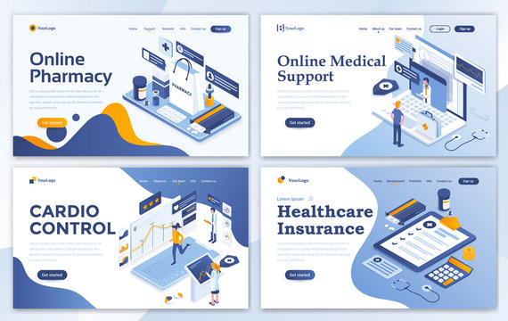 Set of Landing page design templates for Online Pharmacy, Online Medical support, Cardio Control and Healthcare Insurance. Easy to edit and customize. Modern Vector illustration concepts for websites