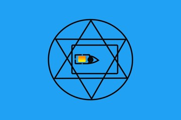 All-seeing eye in the SIM card, triangle in circle of eternity, masonic symbol, symbolizing the Great Architect of the Universe, observing all people, blue background