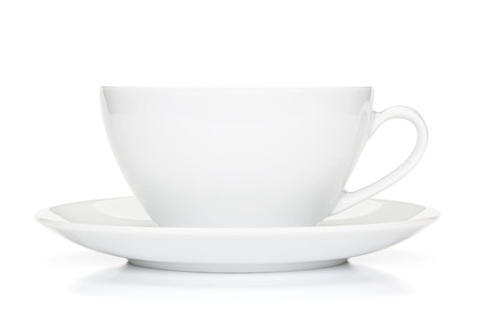 White coffee cup isolated on the white background.