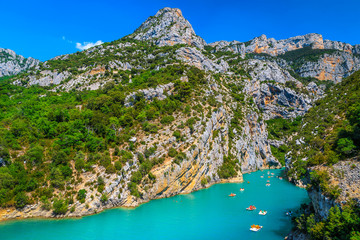 Wall Mural - St Croix Lake and boating in the Verdon gorge, France