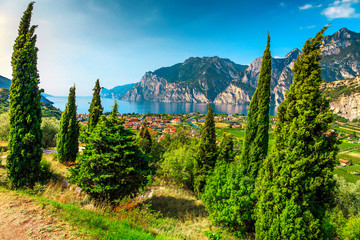 Wall Mural - Lake Garda with high mountains on sunny summer day, Italy