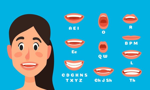 Talking woman mouth animation. Female character talking, speak mouths expressions and lip sync speaking animations vector illustration