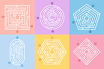 Labyrinth game. Maze conundrum, labyrinth way rebus and many entrance riddle vector concept illustration set