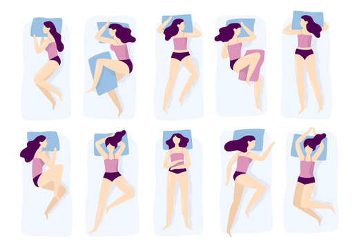 Girl sleeping poses. Various sleep pose with hand on pillow case. Sleep position isolated vector illustration