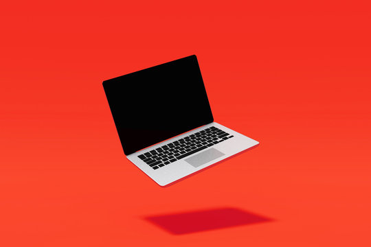 3D Rendering : Illustration of laptop notebook mock up with color background. float or levitate laptop. technology gadget for hipster background concept. high resolution