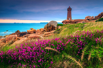 Amazing Atlantic ocean coastline in Brittany region, Ploumanach, France, Europe
