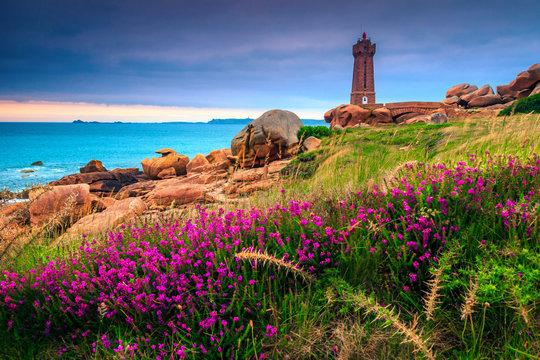 Amazing Atlantic ocean coastline in Brittany region, Ploumanach, France, Europe
