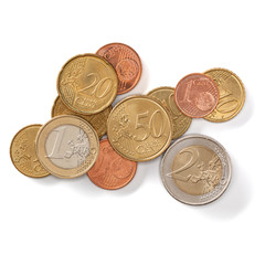 Euro coins isolated on white background closeup. Money concept. Top view, flat lay.