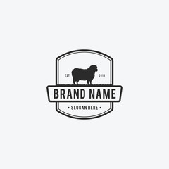 Vector Illustration logos and badges farm sheep isolated or white background. Farm animals badges