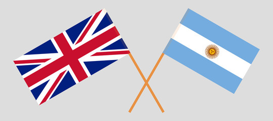 Argentina and UK. The Argentinean and British flags. Official colors. Correct proportion. Vector