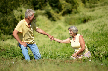 Portrait of nice mature couple on green grass in summer park