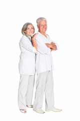 Portrait of beautiful senior couple posing isolated