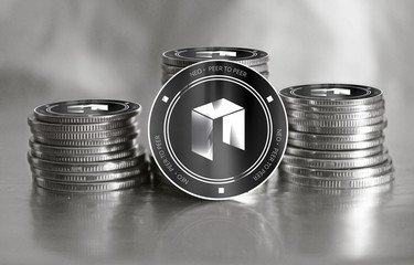 Neo digital crypto currency. Stack of black and silver coins. Cyber money.