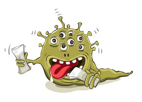 Financial horror. Vector illustration, Funny multocular monster eating money.