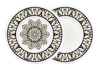 Matching decorative plates for interior designwith floral art deco pattern. Empty dish, porcelain plate mock up design. Vector illustration. White, grey color