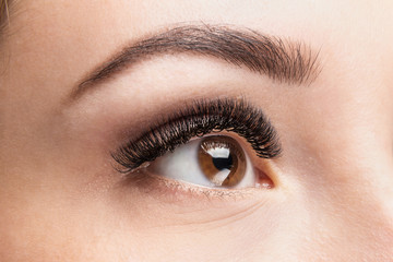 Volume eyelash extensions. Good vision and fresh looking eye. Brown eyebrow liner, clear skin