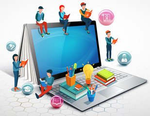 People are reading books sitting on a laptop. Online education concept. Illustration.