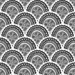 black and white round pattern