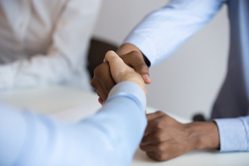 Close up black and caucasian businessmen shaking hands