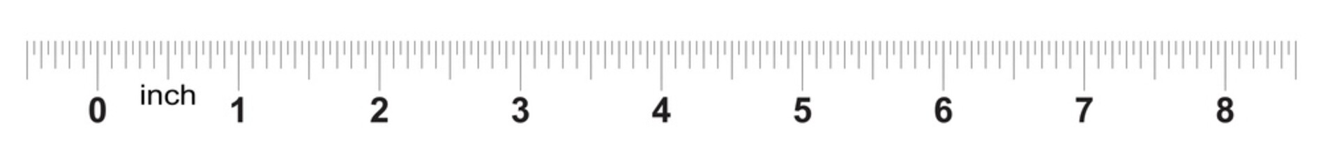 Ruler 8 inches. Metric inch size indicator. Decimal system grid. Measuring tool.