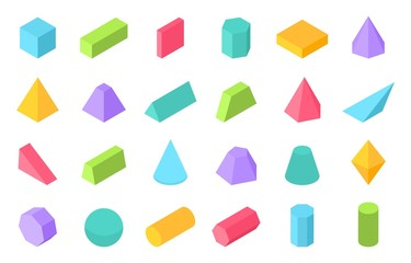 Isometric shapes. 3D geometric form, flat geometry polygon objects such as prism pyramid cylinder sphere. Vector isometric set