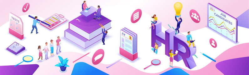 Fototapeta HR department isometric horizontal banner template, Recruitment agency, 3d employer hiring talent personnel, candidates search work via mobile app, office business people, vector illustration obraz