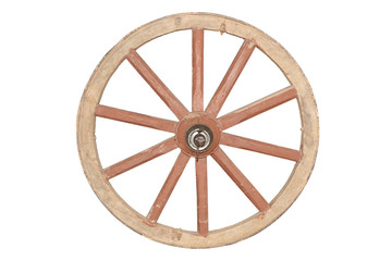 The old wooden wheel from the carriage is isolated on a white background