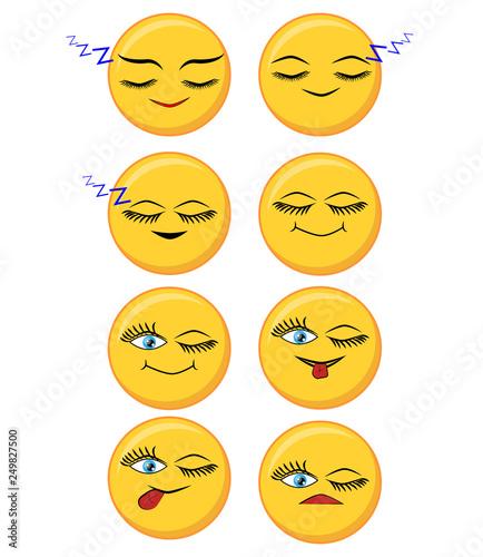 Set of happy, smile, laughing, joyful, sad, angry and crying