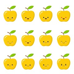 Kawaii yellow apple. Cute emoticon face on a white background. Emoticon icon.