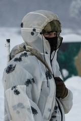 Russian sniper in winter camouflage