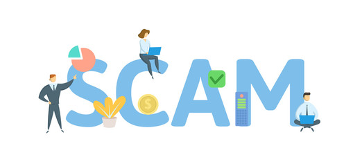 SCAM. Concept with people, letters and icons. Colored flat vector illustration. Isolated on white background.