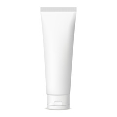 Plastic cosmetic tube for cream or gel mockup isolated on white background. Vector illustration