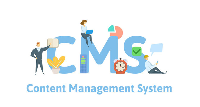 CMS, content management system. Concept with keywords, letters and icons. Colored flat vector illustration. Isolated on white background.