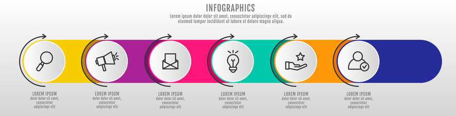 Modern and simple 3D vector illustration. Infographic template with six circles, elements, sectors and arrows. Designed for business, presentations, web design, interface 6 step diagrams