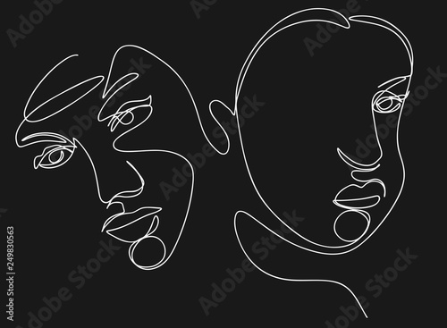 f4db57a9 Continuous line, drawing of set faces and hairstyle, fashion concept, woman  beauty minimalist, illustration for t-shirt, slogan design print graphics  style