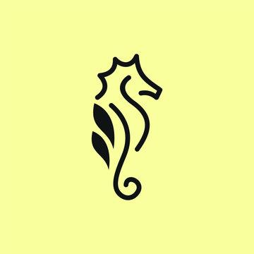 Seahorse logo design template. Awesome a seahorse logo. A double seahorse lineart logotype.