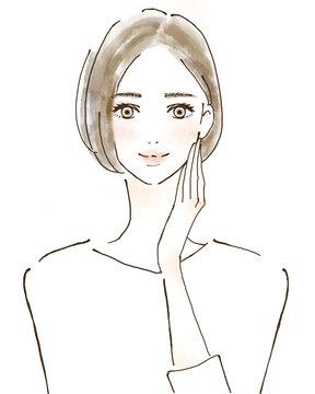 女性 イラスト 幸せ 美容 健康的 スキンケア 美魔女