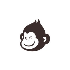little monkey chimp logo vector icon illustration