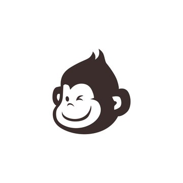 little monkey chimp logo vector icon illustration