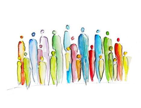 Abstract drawing of a groupe of poeple, crowd, silhouette, stay together in difficult times, solidarity in the pandemie, corona crises, help each other, hope and courage