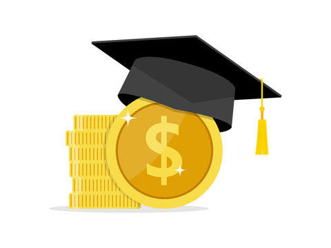 Investment in education. Graduate's cap on Study Money Icon Vector