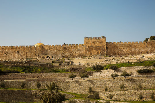 Golden gate to old Jerusalem city .