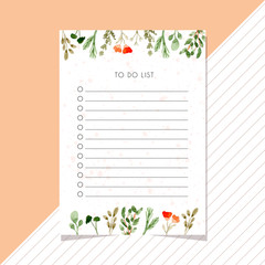 to do list card with leaves watercolor border